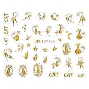 Abtibilde Unghii cu Motive Decorative Pisici, Golden Cats HBJY214