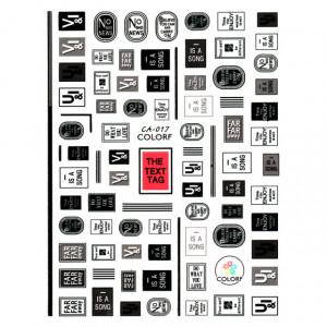 Abtibilde Unghii cu Motive Decorative Text CA-017, Stickere Unghii