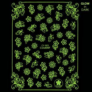 Abtibilde Unghii Glow in Dark Florescente in Intuneric Flowers CY-003