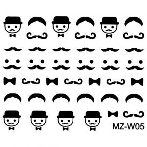 Abtibilde Unghii Mustati Negre, MZ-W05 (Abtibilduri Unghii - Tatuaje Unghii - Nail Stickere)