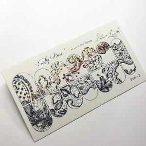 """Abtibilduri Unghii pe Bază de Apă, Model """"ORNAMENTS"""", Cod Foil-3 Silver Reflections, Accesorii Manichiura Nail Art"""