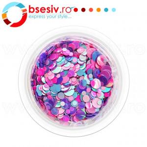 Confetti Unghii, Cod CU-MPR, Culoare Mov-Purpuriu-Roz, Model 'Buline Mixte', Paiete Unghii, Accesorii Nail Art Manichiura