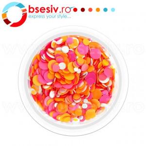 Confetti Unghii, Cod CU-RPA, Culoare Roz-Portocaliu-Alb, Model 'Buline Mixte', Paiete Unghii, Accesorii Nail Art Manichiura