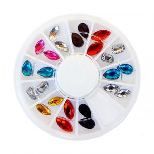 Cristale Unghii Multicolore 24 Bucati, Disc Nail Art