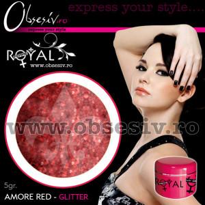Gel colorat unghii Royal Femme AMORE RED GLITTER (Geluri Profesionale Unghii)