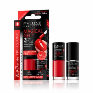 Set Lac Unghii cu Tratament si Top Coat, Magical Gel Eveline Cosmetics, No 01
