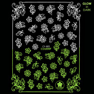 Abtibilde Unghii Glow in Dark Florescente in Intuneric Flowers CY-003