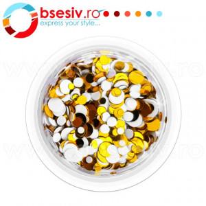 Confetti Unghii, Cod CU-AA, Culoare Auriu-Alb, Model 'Buline Mixte', Paiete Unghii, Accesorii Nail Art Manichiura