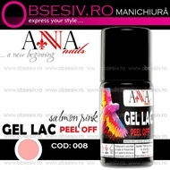 Oja Semipermanenta Peel-OFF - 008 Salmon Pink (Gel Lac Exfoliant)