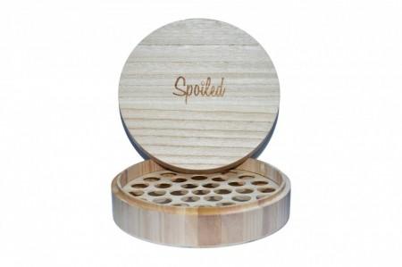 Cutie rotunda din lemn pentru depozitare 37 STICLUTE 5 ml / 10 ml / 15 ml