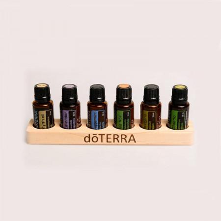 Suport doTERRA din lemn de pin pentru 6 sticlute de 15 ml