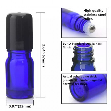 Recipiente roll-on din sticla albastra de 5ml - SET 10 bucati