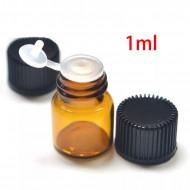 Recipient cu picurator-dop din sticla bruna 1 ml - set 10 bucati