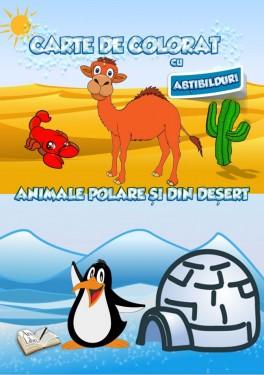 Carte de colorat cu abțibilduri - Animale polare și din deșert