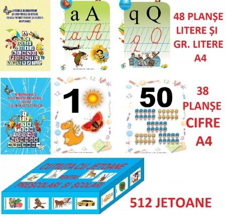 PLANȘE COLOR A4 LITERE(48 PLANȘE) + CIFRE(38 PLANȘE) + JETOANE (512)