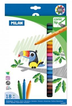 Carioca 18 culori vârf conic Milan