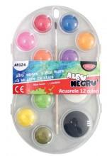 Acuarele 12 culori Albu Negru