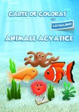 Carte de colorat cu abțibilduri - Animale acvatice