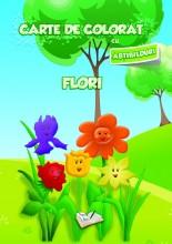 Carte de colorat cu abțibilduri - Flori