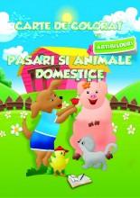 Carte de colorat cu abțibilduri - Animale domestice