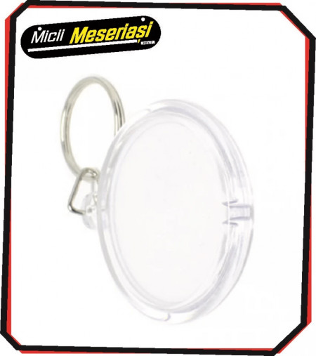 Breloc personalizat din plastic transparent, de forma rotunda
