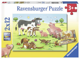 Puzzle familii animale, 2x12 piese
