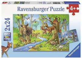 Puzzle animale padure, 2x24 piese