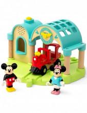 Statie gara si tren Brio Mickey si Minnie Mouse