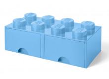 Cutie depozitare LEGO 2x4 cu sertare, albastru deschis