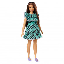 Papusa Barbie Fashionista Satena Cu Rochita Verde