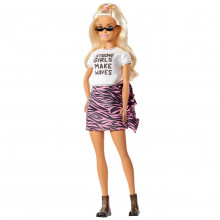 Papusa Barbie Fashionista Blonda Cu Tricou Chic Alb