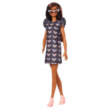 Papusa Barbie Fashionista Bruneta Cu Rochita Mouse Print