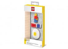 Set LEGO cu o minifigurina, 4 creioane, 1 topper, 1 ascutitoare,