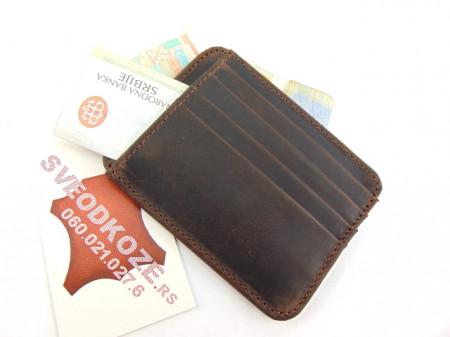 Držač za kartice i novac card holder tamno braon brušeni