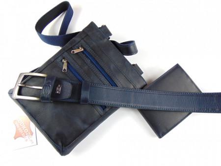 Tamno plava torbica novčanik i kaiš za farmerice