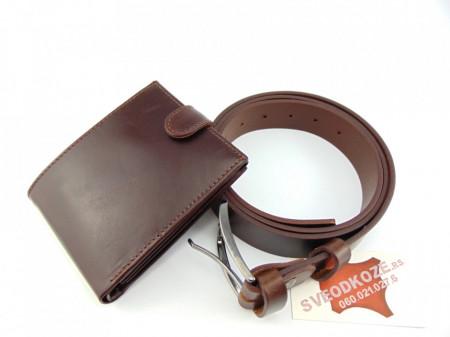 Veliki tamno braon kožni novčanik i kaiš
