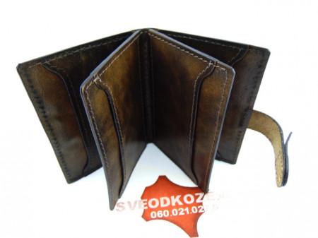 100 % kožna futrola za kartice braon zelena