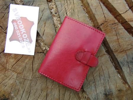 100 % kožna futrola za kartice crvena