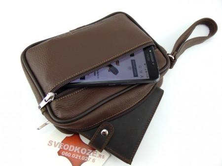 Ručna kožna torbica 3 braon klasik reljef