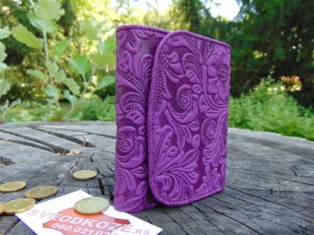Mali ženski kožni novčanik ljubičasti
