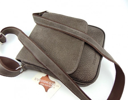 Muška kožna torbica 112 sivo maslinasta
