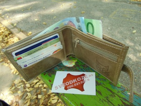 Muški kožni novčanik 5 krem