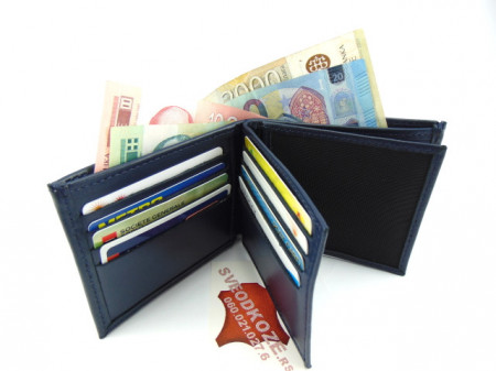 Muški kožni novčanik m4 plavi