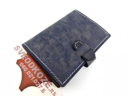 100 % kožna futrola za kartice sivo plava
