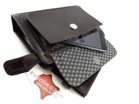 Kožna torba Elegant tamno braon