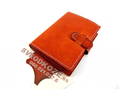 100 % kožna futrola za kartice narandžasta
