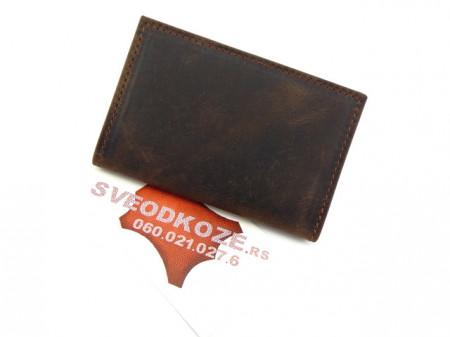 Kožna futrola za kartice sa 6 mesta braon brusena