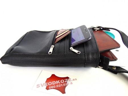 Kožna torbica 9 crna reljef