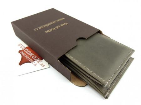 Muški kožni novčanik m3 sivi bez kopče