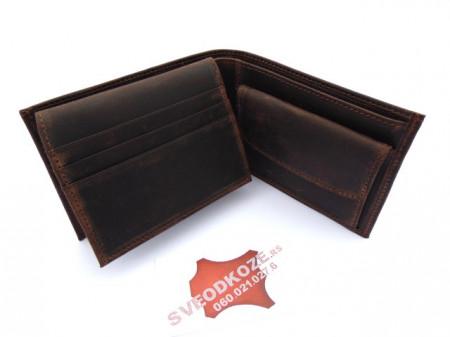 Tanki muški kožni novčanik sa dodatkom za kartice braon brušeni
